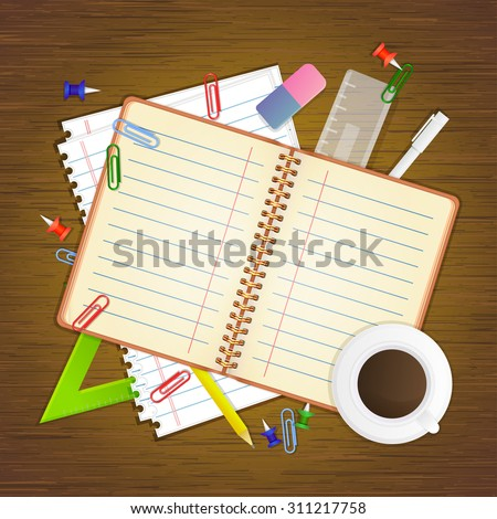 School stationery and empty notebook on wooden background, vector illustration - stock vector
