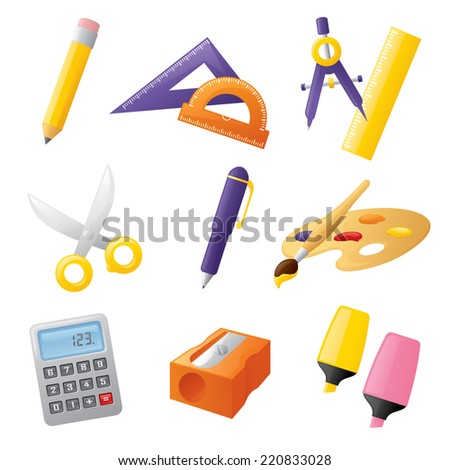 School stationery icons. - stock vector