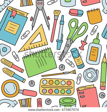 School Stationery Seamless Pattern Cartoon Style Stock ...