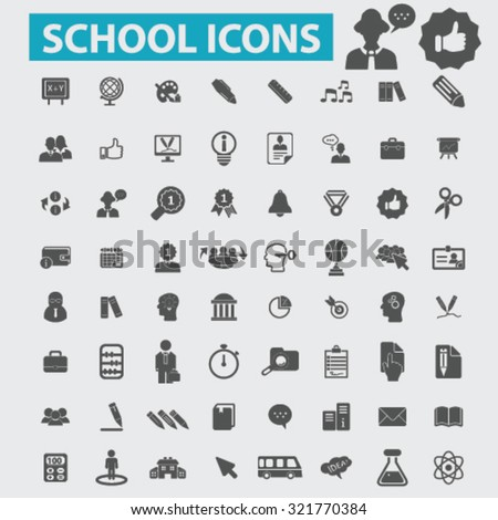school, study, teacher, lesson icons - stock vector