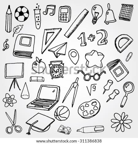 School Stuff Icons - stock vector