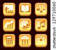 School subjects orange icons set over black background - stock vector