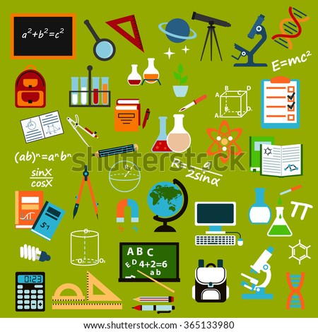 School supplies and education icons with pencils, books, rulers, notebooks, blackboards, globe, computer, backpacks, microscopes stationery atom dna magnifier laboratory glas, telescope and compasses - stock vector