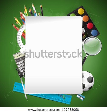 School supplies and empty paper on chalkboard - stock vector