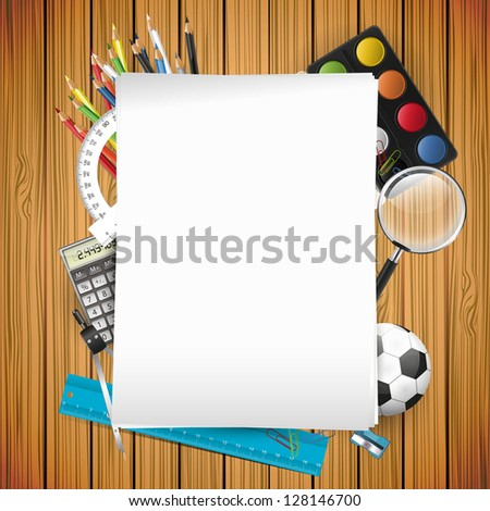 School supplies and empty paper on wooden background - stock vector