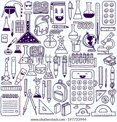 School supplies. Hand drawn vector illustration. School Notebook. - stock vector