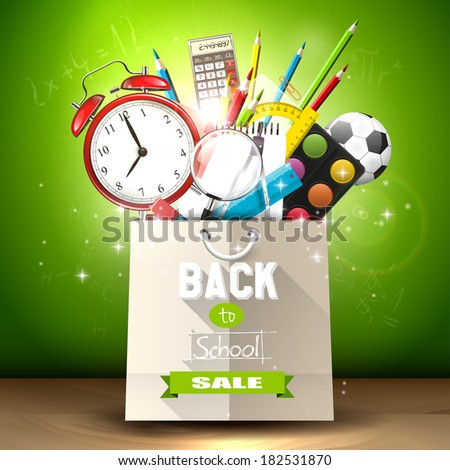 School supplies in a shopping bag - back to school sale concept - stock vector