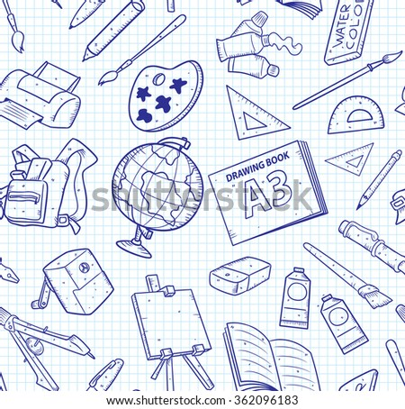 School supplies in doodle style seamless background