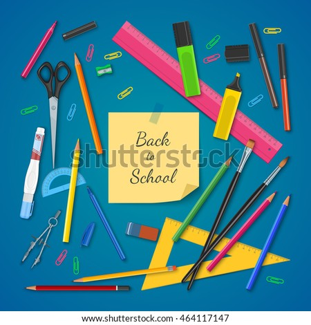 School supplies on colored background. Back to school concept. Vector illustration