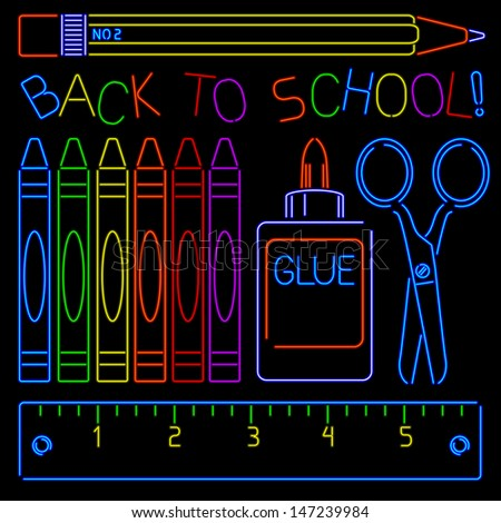 School supplies rendered in neon style - stock vector