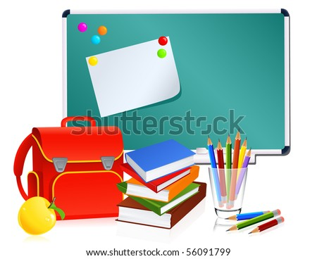 School symbols, vector illusration - stock vector
