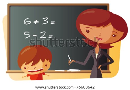 School Teacher and schoolboy - stock vector