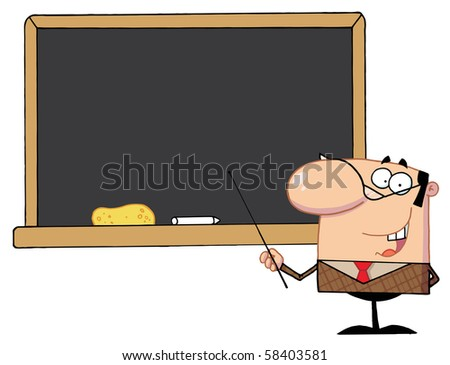 School Teacher With A Pointer Displayed On Chalk Board - stock vector