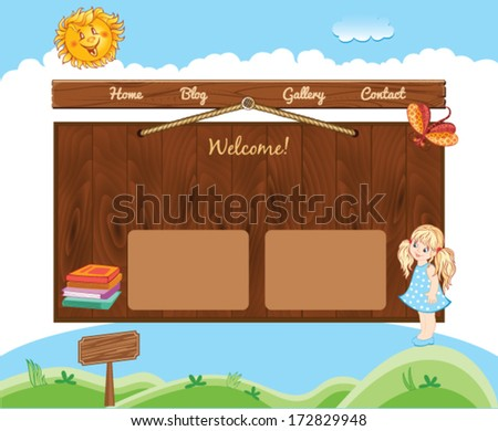 School template for web site - stock vector