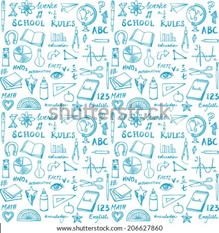 School theme seamless background - stock vector
