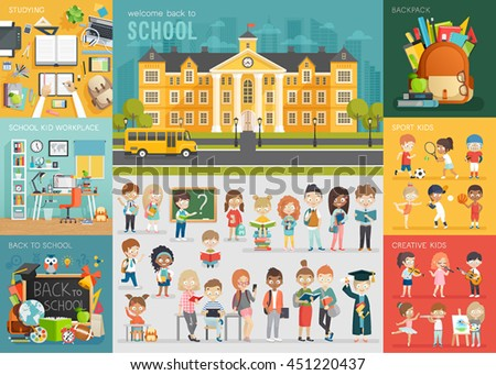 School theme set. Back to school, workplace, school kids and other elements. Vector illustration.