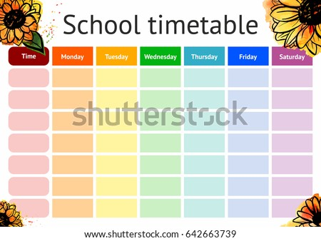School Timetable Weekly Curriculum Design Template Vector – Timetable Template School