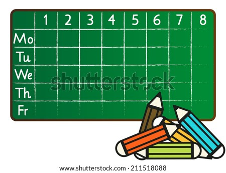 School timetable in greenboard (blackboard) style with pencils in front - stock vector