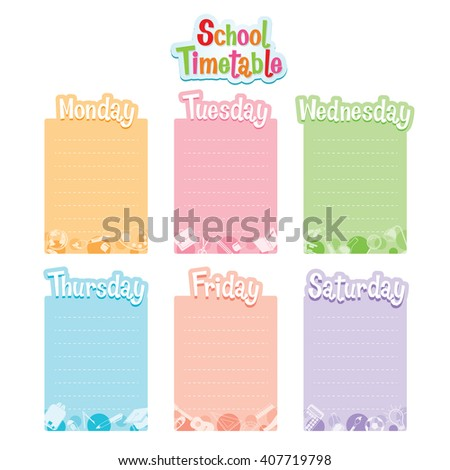 School Timetable, Monday To Saturday, Back to school, Educational, Stationery, Book, Children, School Supplies, Objects, Icons, Educational Subject  - stock vector