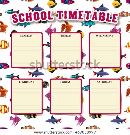 School Timetable Aquarium Fish Vector 469058999 Shutterstock – School Time Table Designs