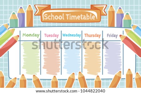 School Timetable Colored Pencils Children Weekly Stock Vector