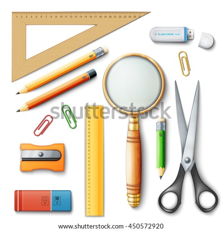 School tools for learning, pencil, rulers and rubber. Eps10 vector illustration isolated on white background