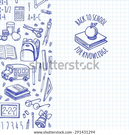 School tools sketch icons on a plaid background isolation vector vertical banner. Background School. - stock vector
