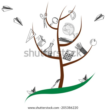 School tree with education objects. EPS 10 vector illustration. - stock vector
