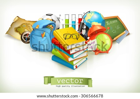 School, vector illustration isolated on white - stock vector