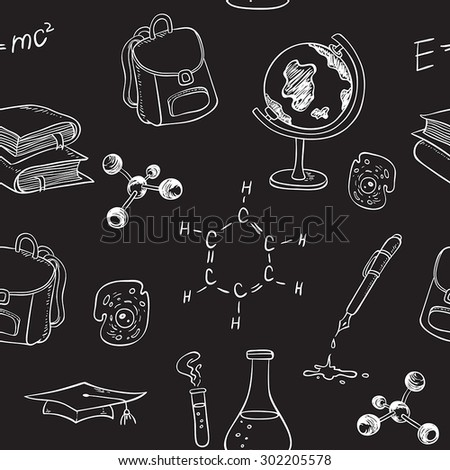 School vector seamless pattern with various items on a chalkboard