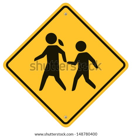 School warning  sign. - stock vector