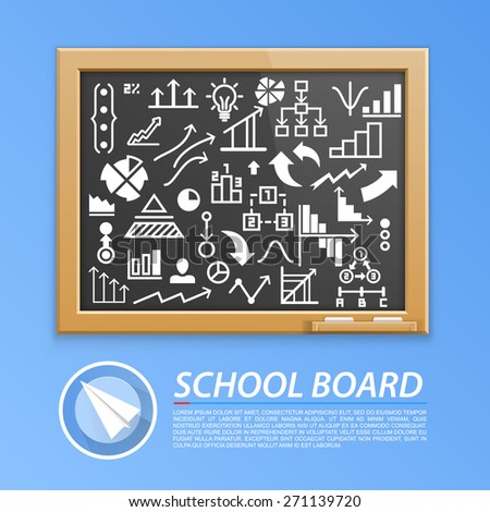School wooden board with icons. Vector illustration - stock vector