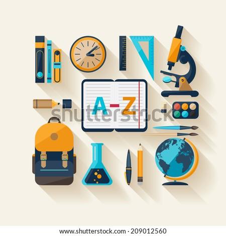 School workspace. Modern flat design. - stock vector