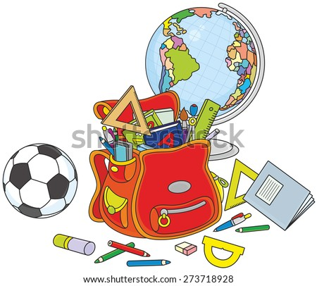 Schoolbag, globe and ball - stock vector