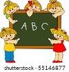 schoolboy and schoolgirl - stock vector