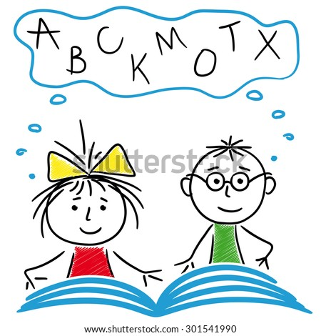 Schoolboy and schoolgirl reading a book together, cartoon sketching vector illustration - stock vector
