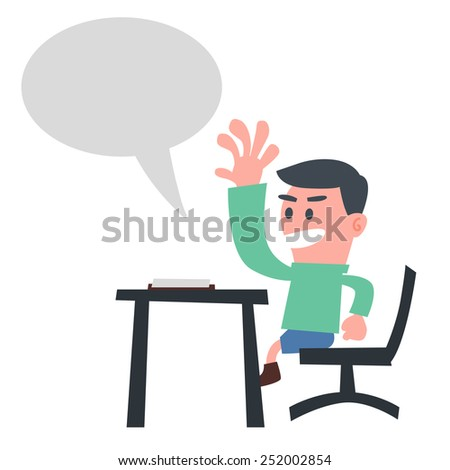 Schoolboy Answer the Question - stock vector