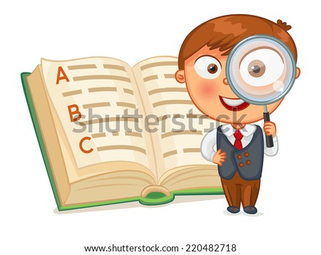 Schoolboy is looking for words in the encyclopedia. Little boy looking through a magnifying glass. Funny cartoon character. Vector illustration. Isolated on white background. Set - stock vector