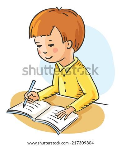 Schoolboy making his homework - stock vector