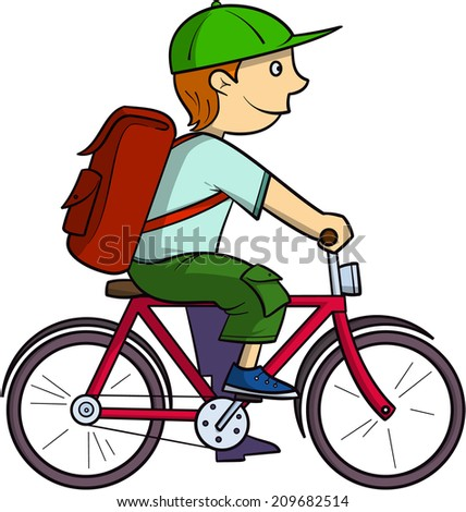 Schoolboy on a bike - stock vector