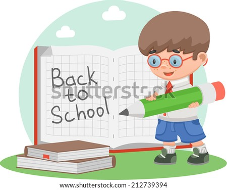 schoolboy school education notebook - stock vector