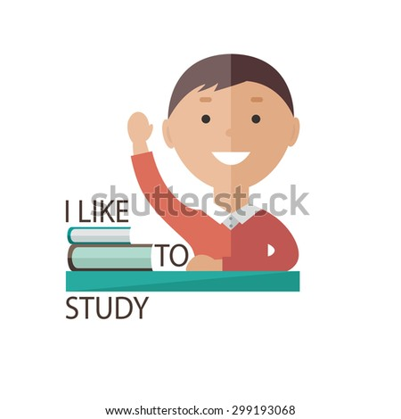 Schoolboy sits at a school desk - stock vector