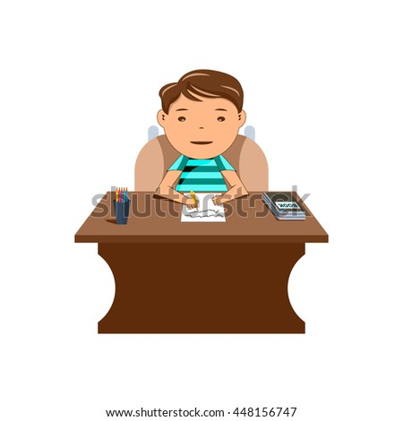 schoolboy sitting at his desk and wrote in a notebook . vector illustrations
