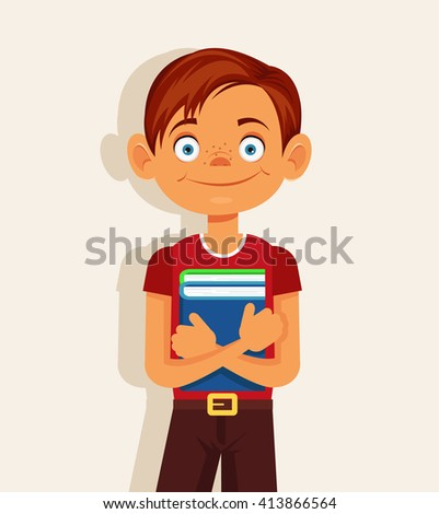 Schoolboy with book. Vector flat cartoon illustration - stock vector