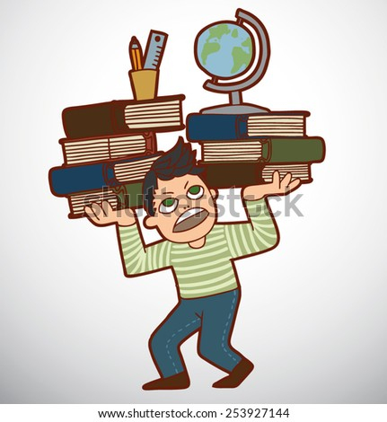 Schoolboy with huge pile of books and globe, vector - stock vector