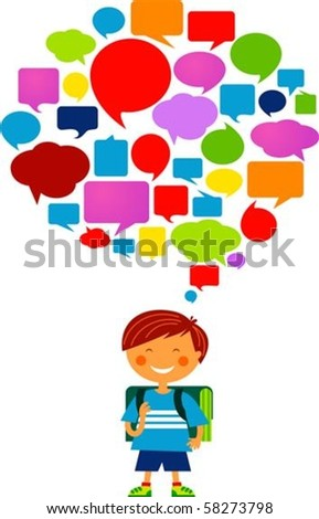 Schoolboy with many thought bubbles - stock vector