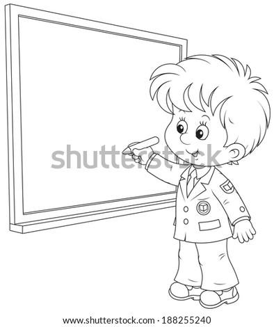 Schoolboy writes on the blackboard - stock vector