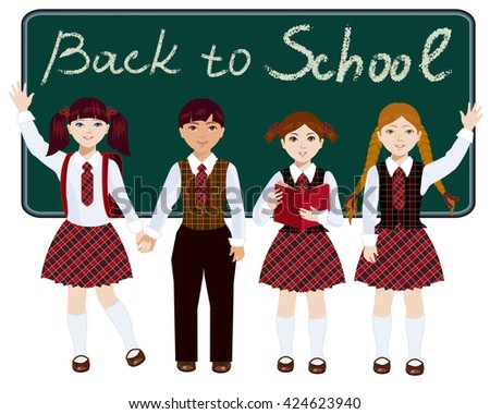 Schoolchildren are at the blackboard in full growth. The girls and the boy dressed in school uniform. Children are happy and waving welcoming back to school. - stock vector