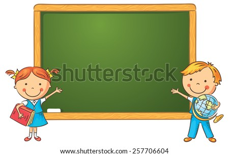 Schoolchildren at the blackboard in the classroom, frame with a copy space - stock vector