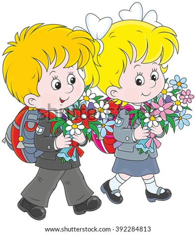 Schoolchildren going to school with their schoolbags and flowers